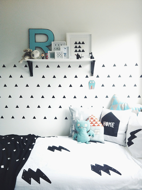 chambre enfant en noir et blanc 25 id es copier. Black Bedroom Furniture Sets. Home Design Ideas