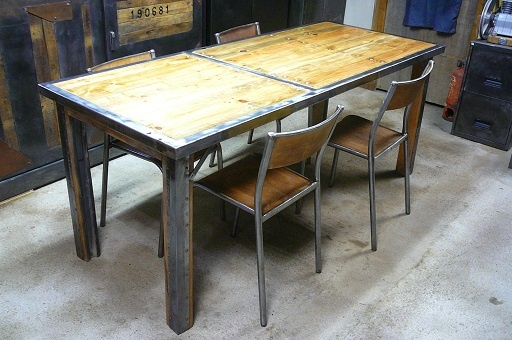 table manger industrielle en palette et mtal