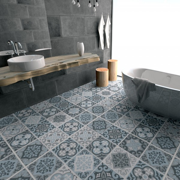 Le carrelage adh sif carreaux de ciment un relooking for Carreaux sol interieur