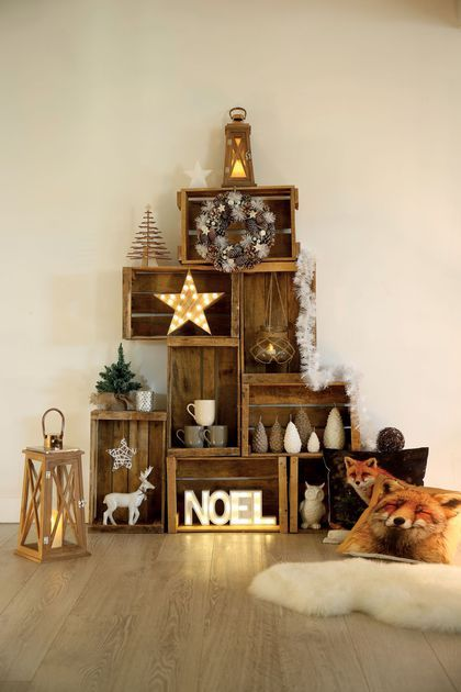 deco de noel en bois home design ideas. Black Bedroom Furniture Sets. Home Design Ideas
